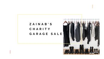 Charity Sale Announcement with Black Clothes on Hangers
