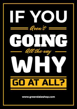 Inspirational Quote in Yellow and Black | Poster Template