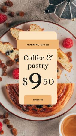 Cafe Promotion Coffee and Pastry on Table Instagram Video Story Modelo de Design