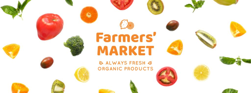Market Ad Rotating Circles of Vegetables and Fruits — Create a Design