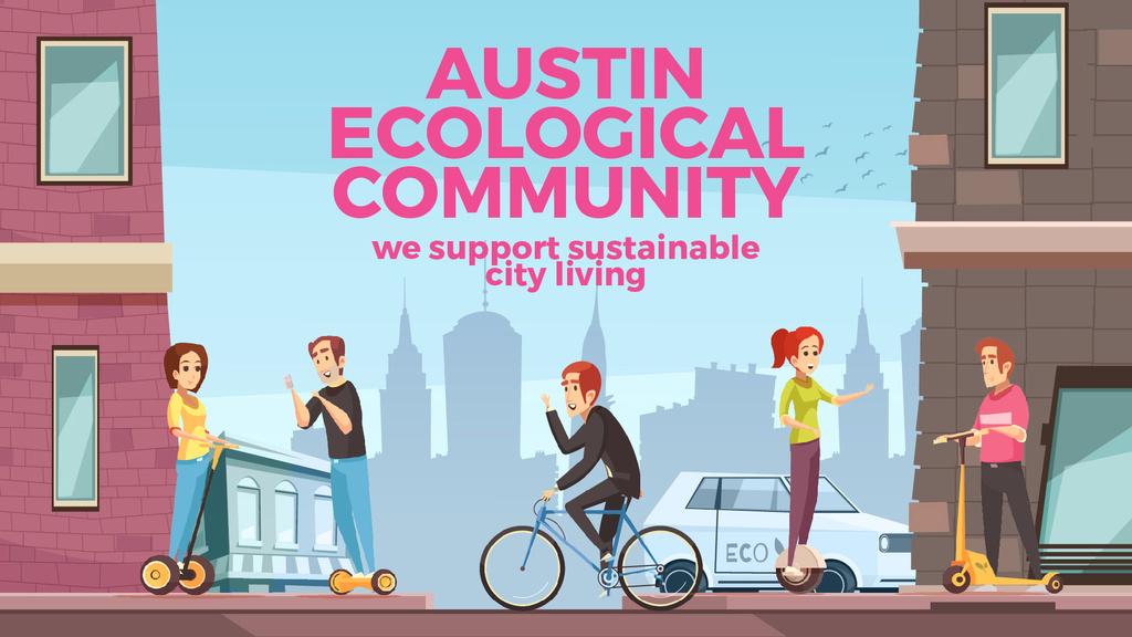 People Using Electric Vehicles in City — Maak een ontwerp