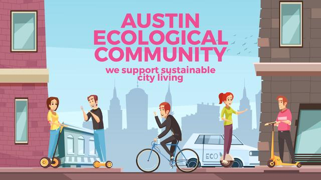 People Using Electric Vehicles in City Full HD video – шаблон для дизайна