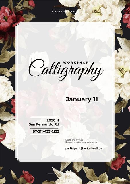 Calligraphy workshop Announcement with flowers Posterデザインテンプレート