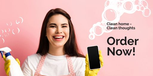 Smiling Cleaner With Detergent And Smartphone TwitterPost