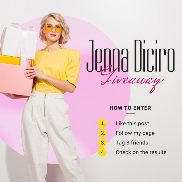 Giveaway Promotion Woman Holding Gifts Instagram Tasarım Şablonu