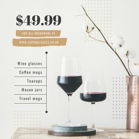 Red wine in glasses for Drinkware Sale Instagram AD Modelo de Design