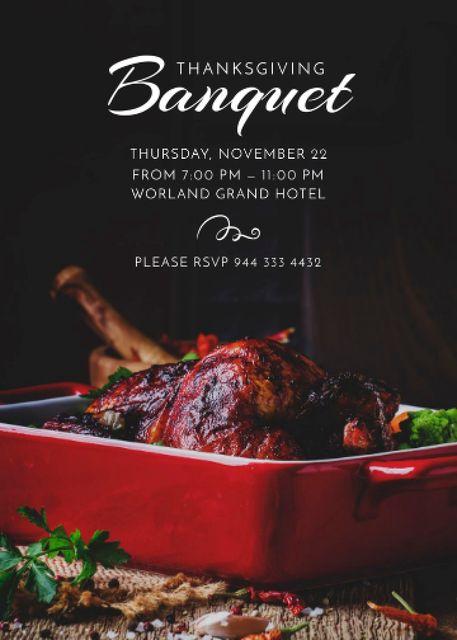 Plantilla de diseño de Roasted Thanksgiving turkey for Thanksgiving Banquet Invitation