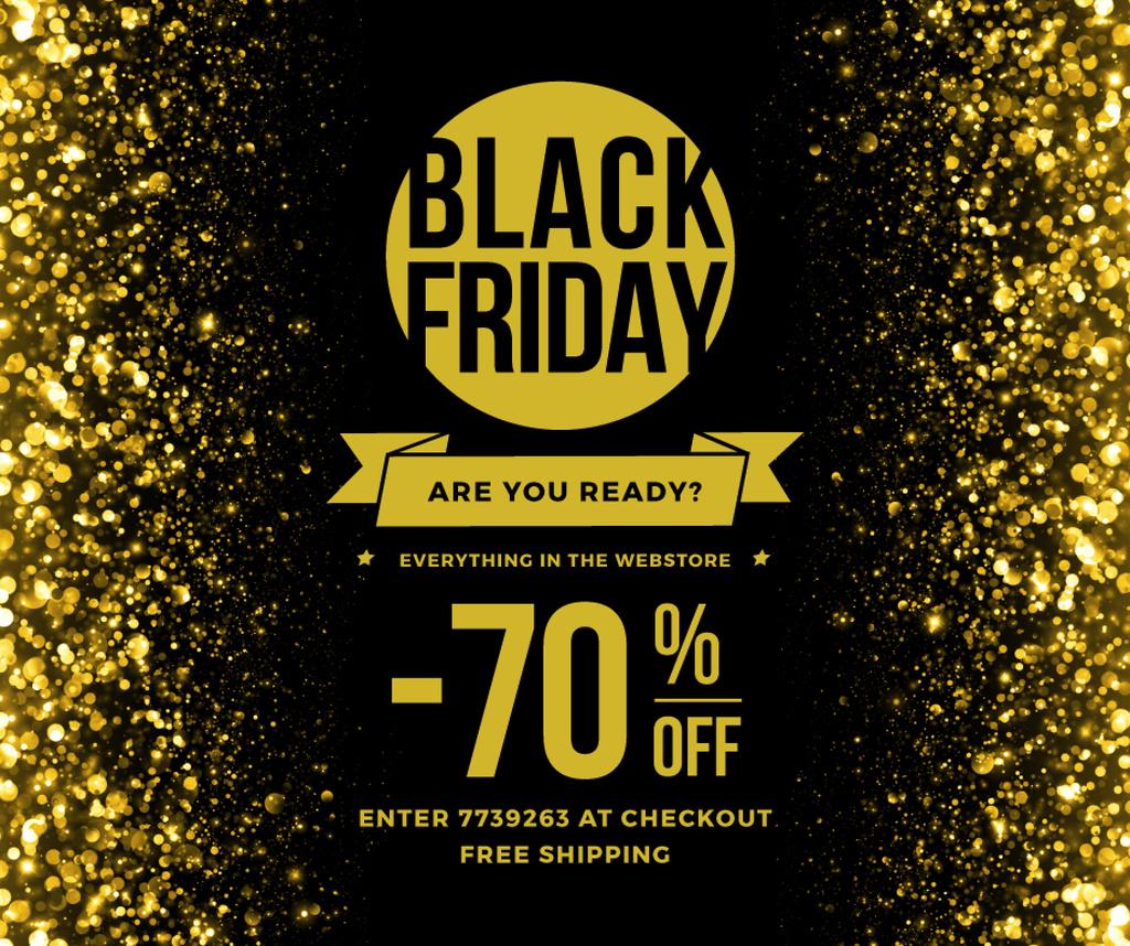 Plantilla de diseño de Black Friday Sale on Golden glitter Facebook