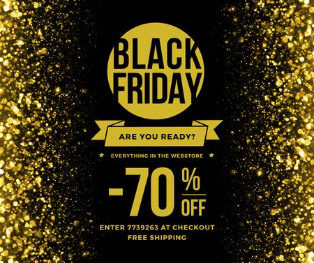Ontwerpsjabloon van Facebook van Black Friday Sale on Golden glitter