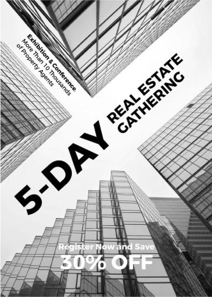 Plantilla de diseño de Real Estate Conference announcement Glass Skyscrapers Flayer