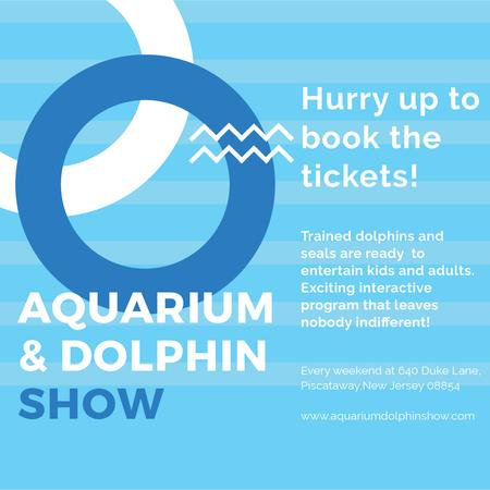 Aquarium Dolphin show invitation in blue Instagram ADデザインテンプレート