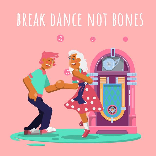Plantilla de diseño de People dancing by jukebox  Animated Post