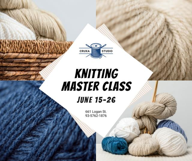 Designvorlage Knitting Lessons Wool Yarn Skeins für Facebook