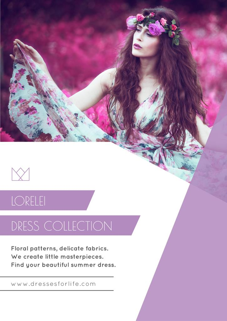 Fashion Ad with Woman in Floral Dress in Purple — Crear un diseño