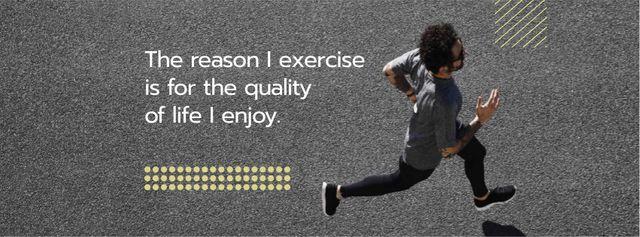 Ontwerpsjabloon van Facebook cover van Cardio Workout with Man Running in City