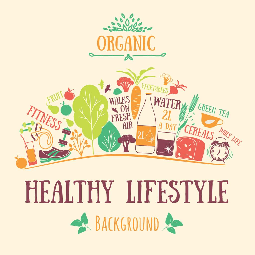 Healthy Lifestyle Attributes Icons Instagram AD Tasarım Şablonu