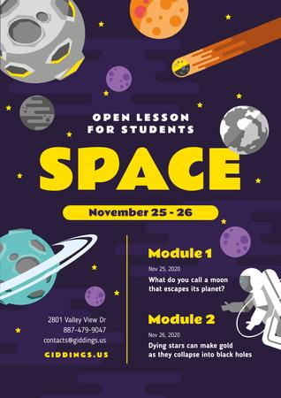 Space Lesson Announcement with Astronaut among Planets Poster Modelo de Design
