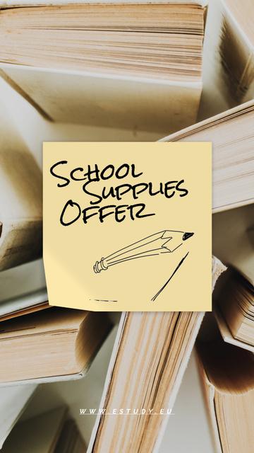 Back to School Sale Paper Books Instagram Video Story Modelo de Design