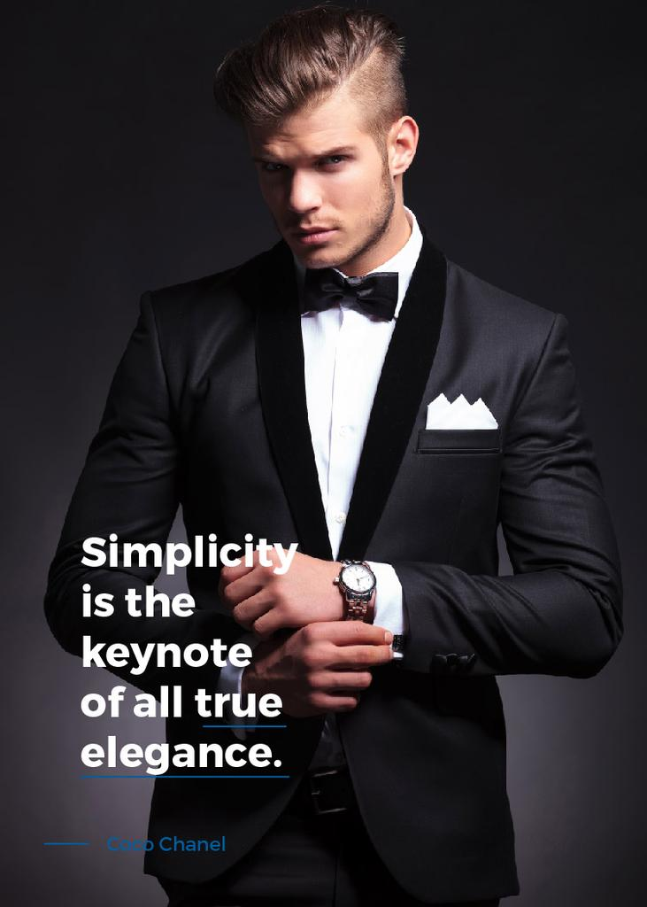 Simplicity is the keynote of all true elegance poster invitation simplicity is the keynote of all true elegance poster design template stopboris Gallery