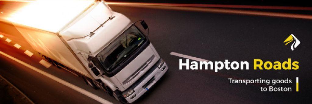 Delivery Service Truck on a Road | Email Header Template — Crea un design