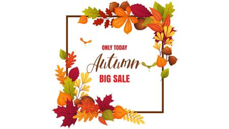 Plantilla de diseño de Autumn Sale Announcement in Leaves Frame Full HD video
