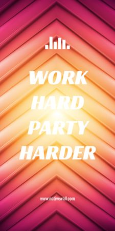 Hard Work quote on red and yellow stripes Graphicデザインテンプレート