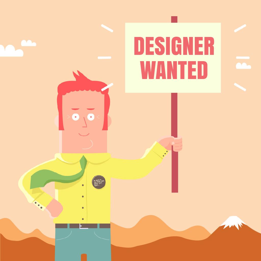Friendly man holding placard — Crear un diseño