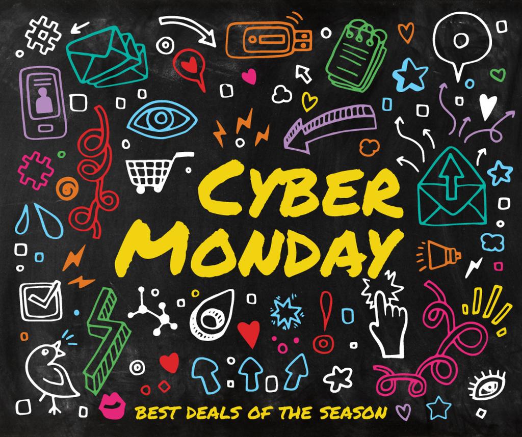 Cyber Monday sale Doodle icons Facebook Tasarım Şablonu