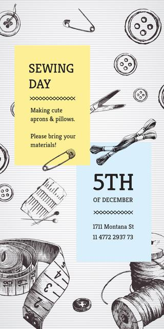 Sewing day event with needlework tools Graphic Tasarım Şablonu