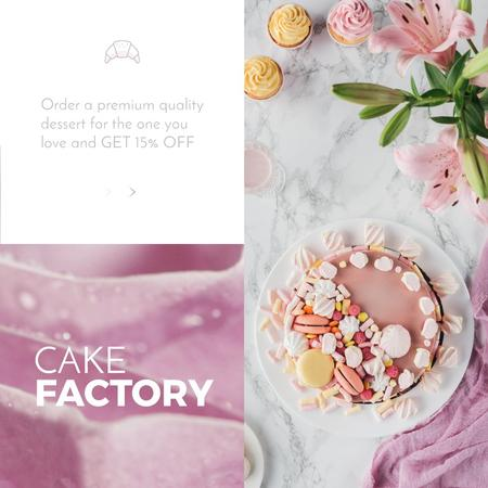 Bakery Offer with sweet pink Cake  Animated Post Modelo de Design
