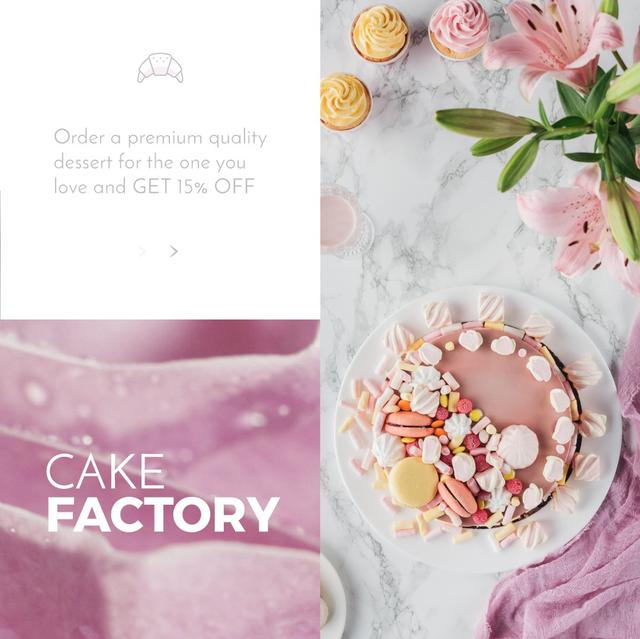 Bakery Offer with sweet pink Cake  Animated Post Design Template