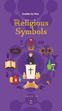 Christianity religious symbols on purple