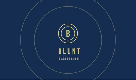 Barbershop Services Offer on blue Business card Modelo de Design
