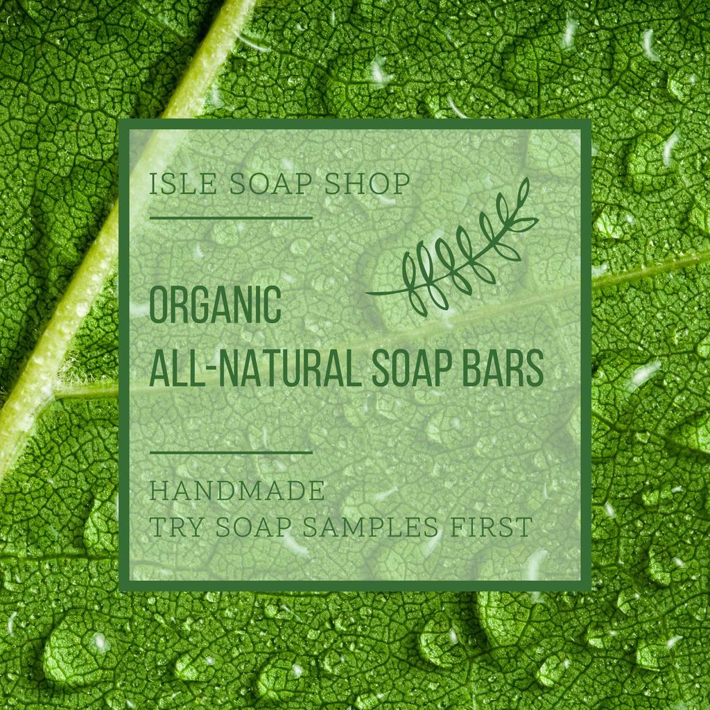 Organic Cosmetics Ad Drops on green Leaf — Create a Design