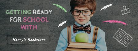Bookstore Ad with Schoolboy Holding Stack of Books Facebook cover Modelo de Design