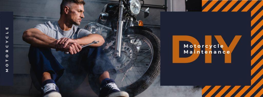 Biker repairing his motorcycle — Crear un diseño