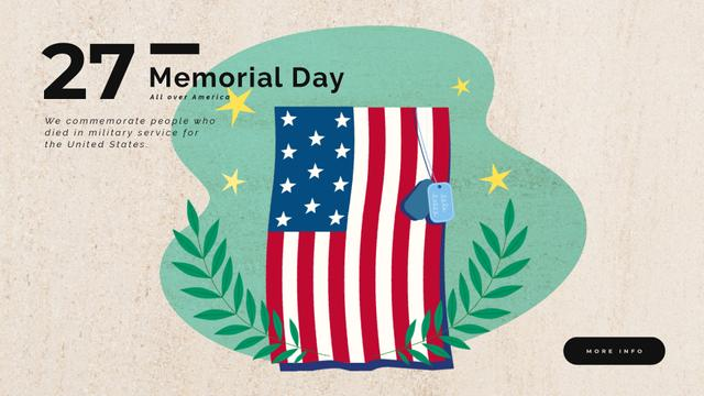 Plantilla de diseño de USA Memorial Day Waving Flag Full HD video
