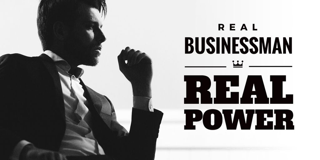 Handsome young man in suit with text real businessman and real power — Créer un visuel