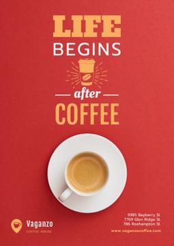 Coffee Quote with Cup in Red | Poster Template