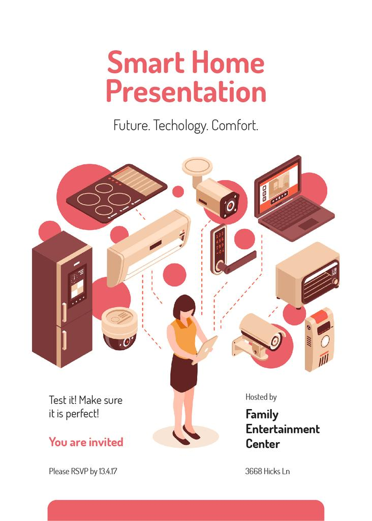 Smart home concept with Woman and icons — Crear un diseño