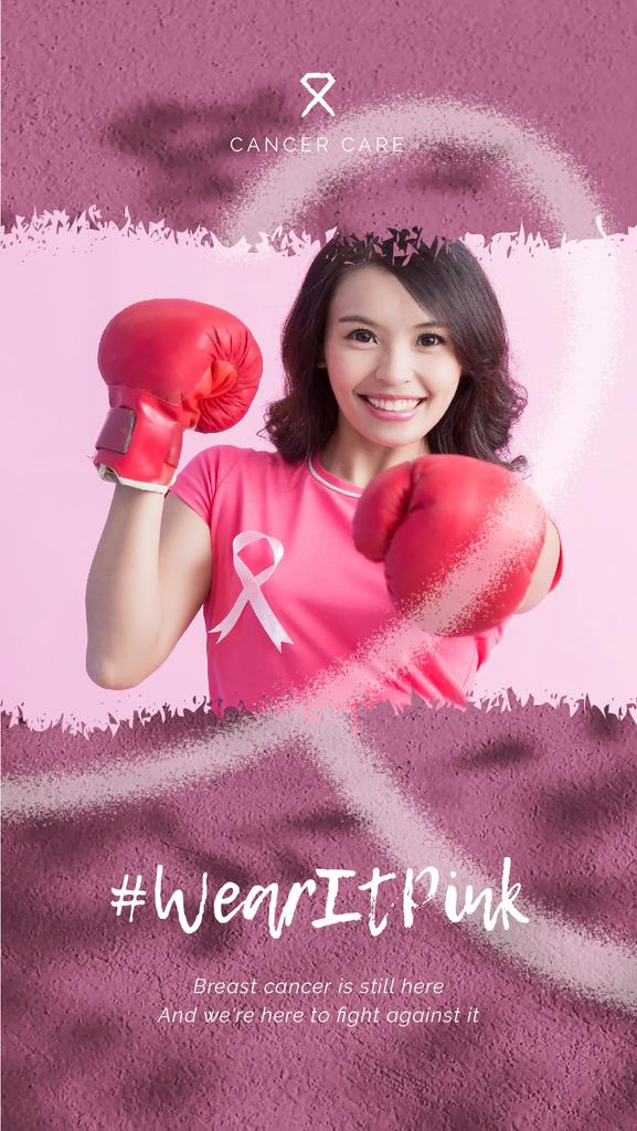 Cancer Awareness Woman in Boxing Gloves on Pink | Vertical Video Template — Créer un visuel