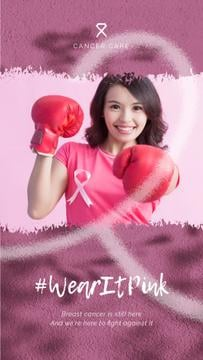 Cancer Awareness Woman in Boxing Gloves on Pink | Vertical Video Template