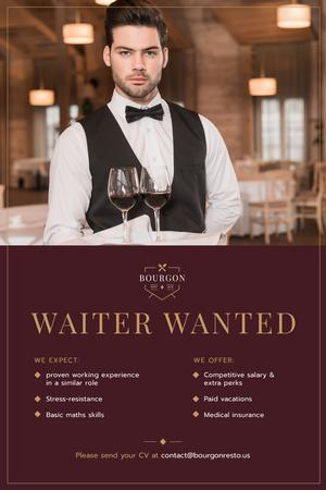 Ontwerpsjabloon van Pinterest van Waiter Wanted Announcement with Man Serving Wine