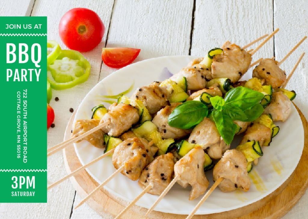 BBQ Party Grilled Chicken on Skewers — Создать дизайн