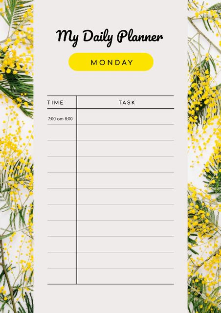 Daily Planner on Yellow Wild Flowers Schedule Planner Design Template