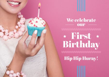 First birthday invitation card on pink Card – шаблон для дизайну