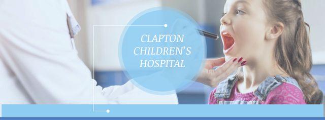Ontwerpsjabloon van Facebook cover van Children's Hospital Ad Pediatrician Examining Child