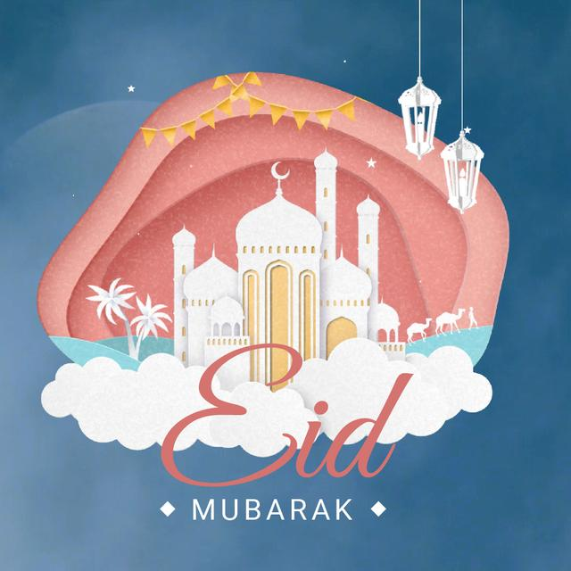 Plantilla de diseño de Eid Mubarak White Mosque Animated Post