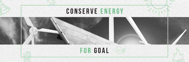 Green Energy Wind Turbines and Solar Panels Twitterデザインテンプレート