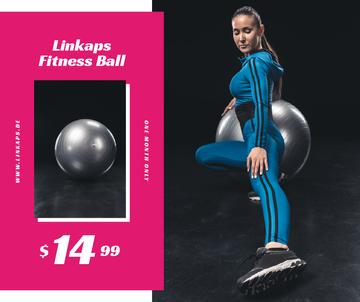 Girl training on fitness ball